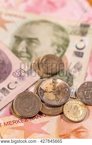 A Composition Of Turkish Lira Tl. Try Banknotes And Coins Providing Great Options To Be Used For Ill