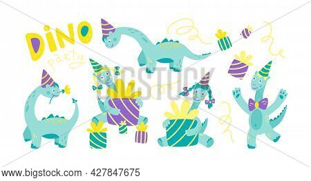 Dino Birthday Party. Hilarious Funny Dinosaurs In Festive Caps And Gifts. Set Of Dinosaur