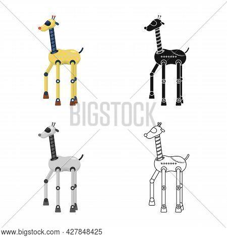 Isolated Object Of Giraffe And Animal Logo. Set Of Giraffe And Africa Stock Vector Illustration.