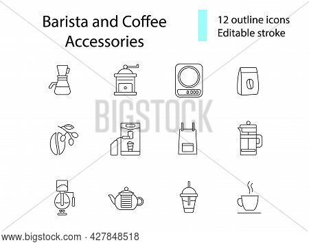 Coffee Shop Accessories Line Icons Set. Coffee Beans. Professional Machine For Coffee Shop. Apron An