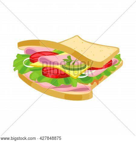 Vector Design Of Burger And Bread Icon. Web Element Of Burger And Ham Vector Icon For Stock.