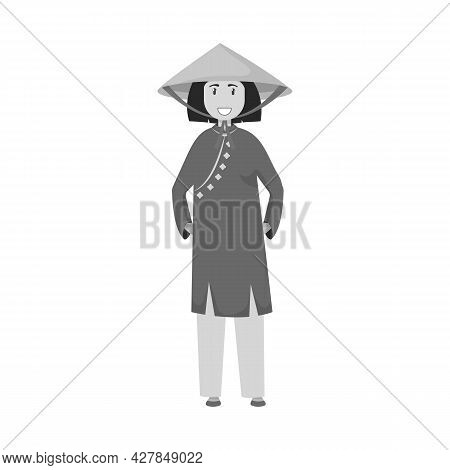 Vector Design Of Vietnamese And Woman Sign. Collection Of Vietnamese And Girl Stock Symbol For Web.