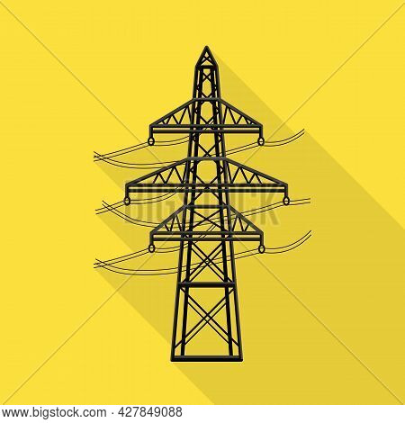 Vector Illustration Of Pillar And Energetic Symbol. Graphic Of Pillar And Station Stock Symbol For W