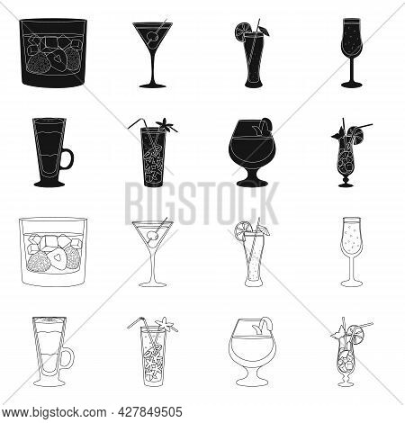 Vector Illustration Of Liquor And Restaurant Icon. Collection Of Liquor And Ingredient Stock Vector