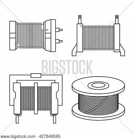 Vector Design Of Spiral And Compression Icon. Collection Of Spiral And Torsion Vector Icon For Stock