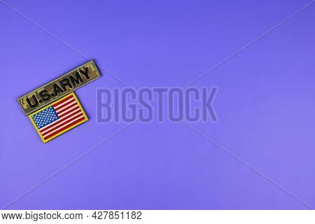 Stripes Of The Us Army On A Purple Background. Memorial Day. U.s. Military Rank Insignia.