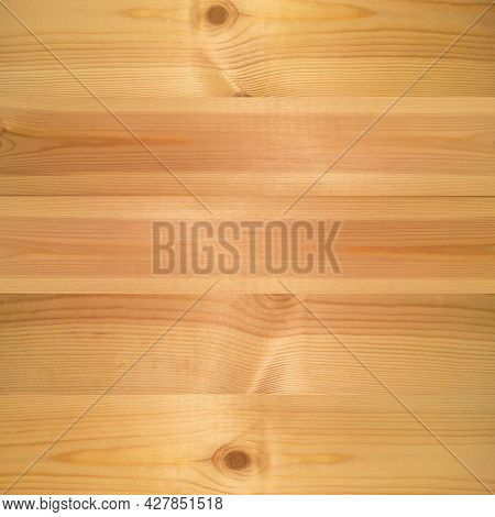 Wood Texture Background, Pine Board, Spruce Table With Knots. Square Banner. Top View Light Wooden T