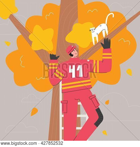 Young Adult Firefighter In Uniform Saving Cat. Fireman Standing On Ladder Of Fire Truck For Catching