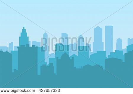 City Skyline Silhouette Building Vector Illustration Architecture. Cityscape Skyline Skyscraper Towe