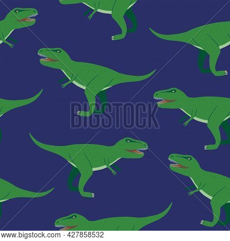 Seamless Pattern With Angry Tyrannosaurus Rex Cartoon Characters For Children Design, Textile And Ac