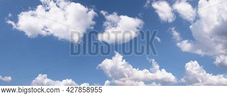 Banner Tropical Summer Blue Sky Fluffy White Cloud Summertime On Light Sunny Day Cloudscape. Panoram