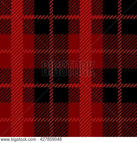Red And Black Scotland Textile Seamless Pattern. Fabric Texture Check Tartan Plaid. Abstract Geometr