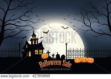 Happy Halloween Sale Banner. Special Discount. Halloween Holiday Event. Halloween Vector Illustratio