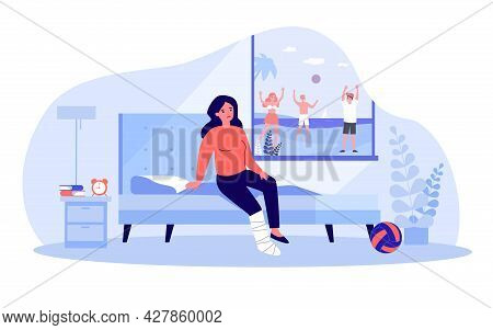 Sad Woman With Broken Leg Looking At People Playing Outside. Girl With Leg In Cast Sitting On Bed In
