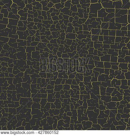 Golden Cracked Paint Texture. Patina Scratch Golden Distress Grunge Pattern. Exfoliate Surface. Vect
