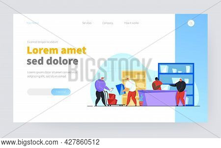 Post Worker Giving Package To Customer In Post Office Flat Vector Illustration. Cartoon Couriers Rem