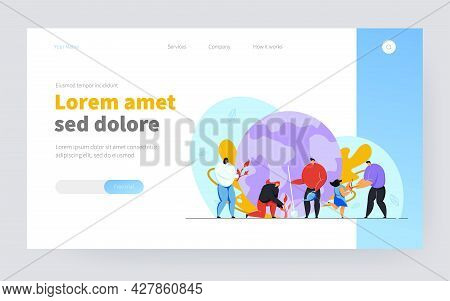 Tiny People Caring Earth Ecology Flat Vector Illustration. Cartoon Girl, Men And Women Near Planet W