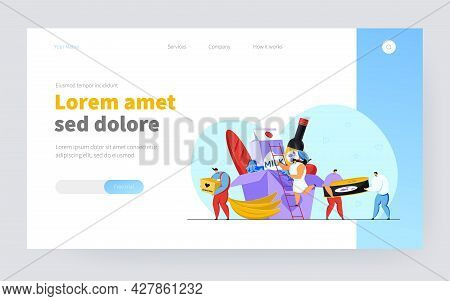 Volunteers Delivering Groceries. Tiny Charity People Sharing Food Help Boxes Flat Vector Illustratio