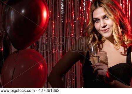 Birthday Woman. Festive Party. Holiday Celebration. Pretty Happy Elegant Lady Black Dress Posing Wit