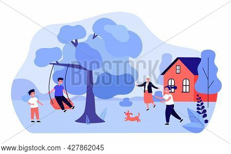 Grandmother Greeting Children Playing Outside. Grandson Swinging On Swing On Tree Branch Flat Vector