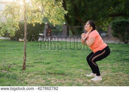 Park Training. Obese People. Active Lifestyle. Body Positive. Cheerful Motivated Smiling Overweight