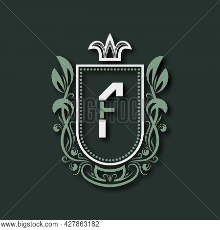 Vintage Premium Monogram Of Letter F. Heraldic Coat Of Arms In Form Of Shield Surrounded By Floral O