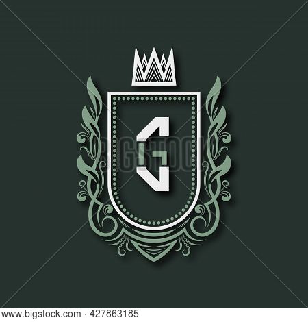Vintage Premium Monogram Of Letter G. Heraldic Coat Of Arms In Form Of Shield Surrounded By Floral O