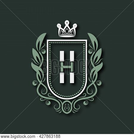 Vintage Premium Monogram Of Letter H. Heraldic Coat Of Arms In Form Of Shield Surrounded By Floral O