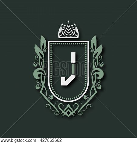 Vintage Premium Monogram Of Letter J. Heraldic Coat Of Arms In Form Of Shield Surrounded By Floral O