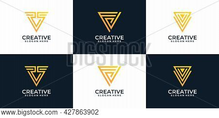 Set Of Letter V Modern Elegant Logo Elements Shape Font With Geometric Style. Logo Can Be Used For I