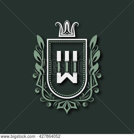 Vintage Premium Monogram Of Letter W. Heraldic Coat Of Arms In Form Of Shield Surrounded By Floral O