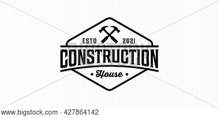 Vintage Retro Construction House Hammer Hipster Logo Design. Logo Can Be Used For Icon, Brand, Ident