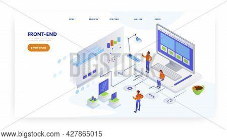 Front-end, Landing Page Design, Website Banner Vector Template. Frontend Developer, Programmer Creat