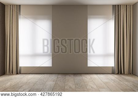 Modern Minimalist Gray, Beige Interior With Curtains, Roller Blinds And Wood Floor. 3d Render Illust