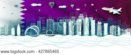 Travel Landmarks Modern Architecture Qatar In Doha Famous City Downtown. Tour Asia With Panorama Pop