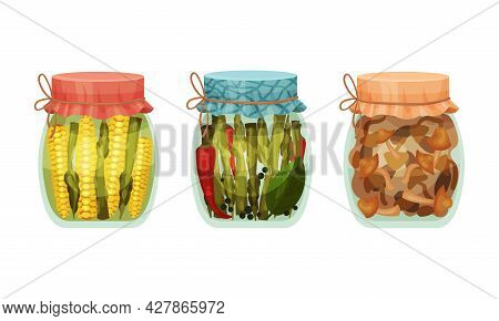 Closed With Lid Glass Jar With Preserved Corn And Asparagus Vector Set