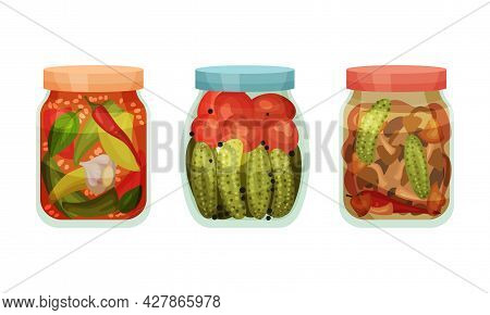 Closed With Lid Glass Jar With Preserved Cucumber And Pepper Vector Set