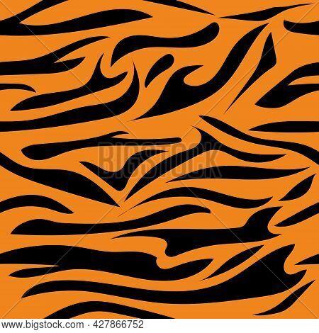 Seamless Pattern With Tiger Color. Illustration With Tiger Stripes. Black Stripes On An Orange Backg