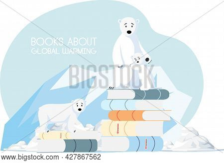 Family Of Polar Bears Is Very Sad About Climate Change And Global Warming. Polar Bears Stand On Stac