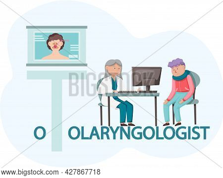Otolaryngologist Examining Young Patient In Clinic. Medical Treatment And Healthcare Concept, Consul