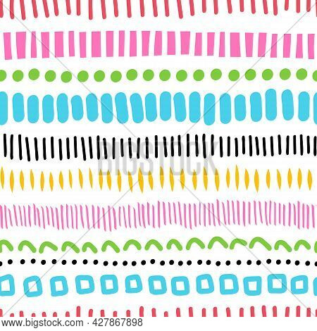 Seamless Doodle Pattern With Lines Dots. Abstract Vector Texture With Hand Drawn Decorative Horizont