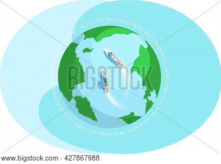 Yacht Regatta On Wave Blue Sea, Ocean On Globe. Sunny Summer Vacation Travel Adventure Background. W