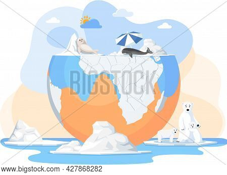 Animal Extinction Concept. Melting Glaciers, Global Warming And Climate Change On Earth. Polar Anima