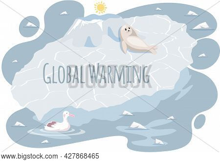 Wild Seal And Polar Gull Suffer From Climate Change. Polar Animals On Ice Floe During Glaciers Melti
