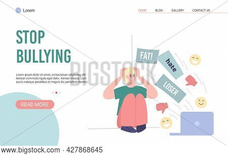 Web Page With Call To Stop Bullying, Harassment And Abuse In Social Network.