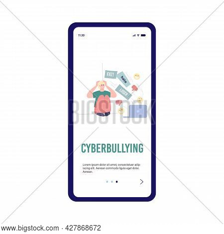 Phone Screen With Unhappy Young Man Suffering From Bullying And Abuse In Internet