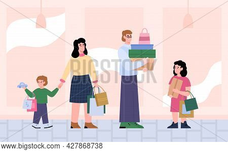 Happy Family Buyers - Parents With Kids Spending Time At Stores Or Malls.