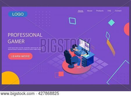 Professional Gamers Competition Landing Page Template. Video Game Online Tournament, Electronic Ente