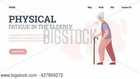 Physical Fatigue In Elderly Age Website Interface, Flat Vector Illustration.