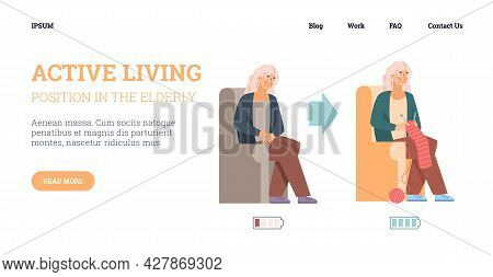 Web Banner With Tired Exhausted And Rested Energetic Aged Woman.